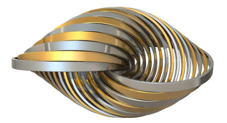Ring made of overlapping metal in many layers. 3D illustration