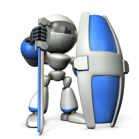 Gatekeeper robot with a large shield. 3D illustration Stock Photo