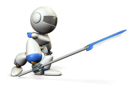 Robot warrior with a large spear. 3D illustration
