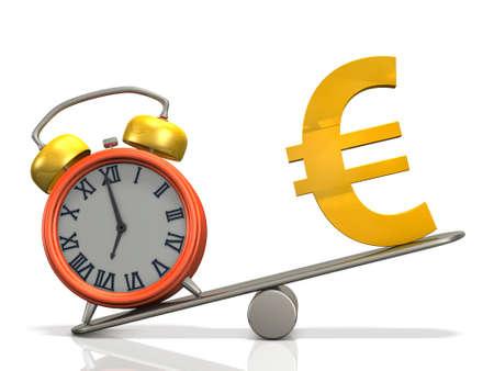 시계와 돈의 무게를 비교합니다. 그것은 시간을 나타냅니다. 3D 일러스트 레이션 스톡 콘텐츠
