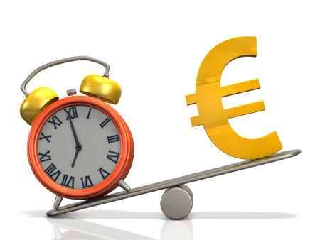 To compare the weight of the watch and money. It represents the time. 3D illustration
