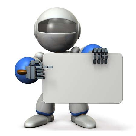 かわいいロボットは、掲示板で何かを指しています。3 D イラストレーション 写真素材