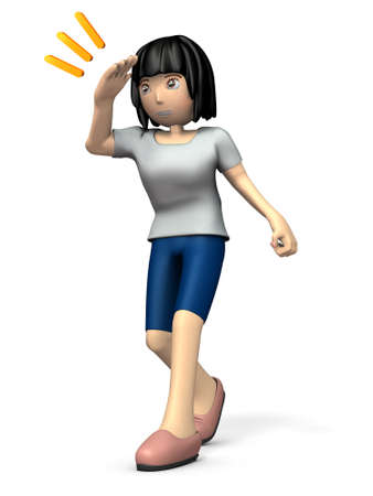 Girl stops and look for the future. 3D illustration Stock Photo