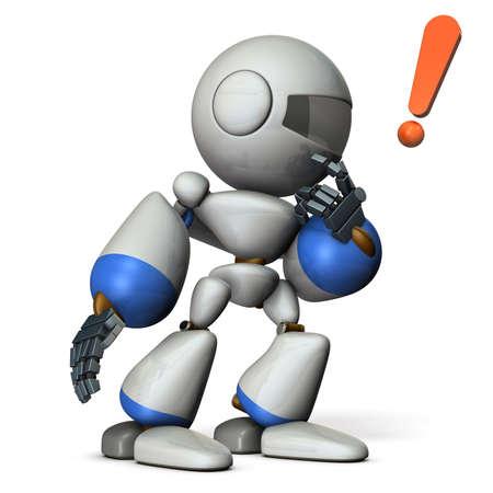 carefully: Cute robot makes a carefully listen. 3D illustration