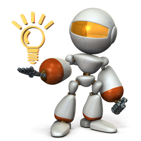 come up to: Cute robot came up with a good idea. 3D illustration Stock Photo