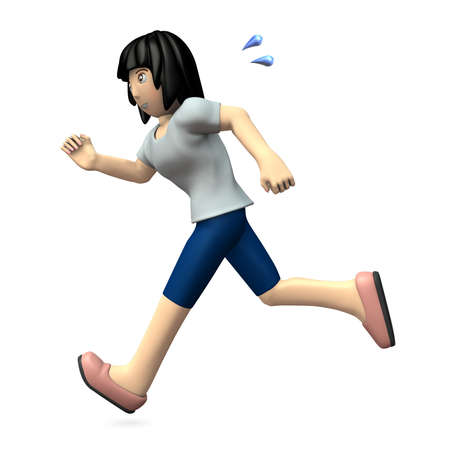 Young woman is running. 3D illustration