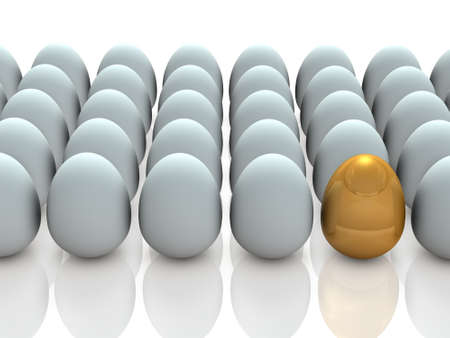 prodigy: There is a promising one, in many eggs.  3D illustration Stock Photo