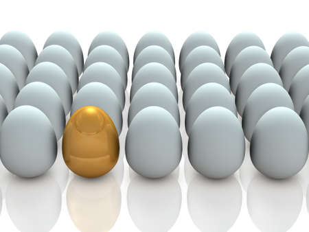 promising: There is a promising one, in many eggs.  3D illustration Stock Photo