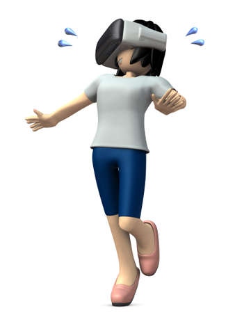 hysteria: Girl wearing the apparatus of virtual reality. 3D illustration