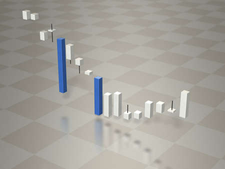fluctuation: 3D graph depicting the fluctuation of stock prices. 3D illustration Stock Photo