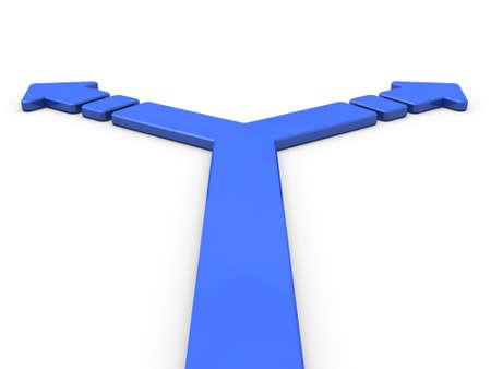 分岐を表す矢印。3 D イラストレーション