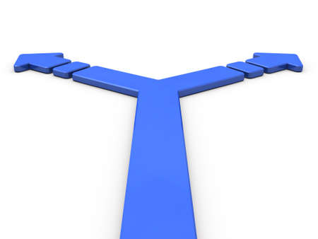 Arrow representing the branch. 3D illustration