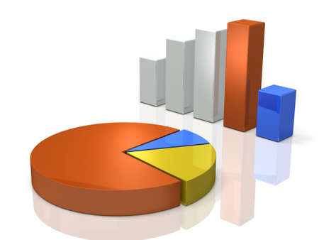 slump: Bar graph and pie chart. Background image. 3D illustration