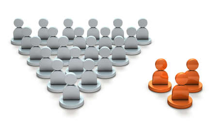 Two ethnic groups. Minority group and large group. 3D illustration