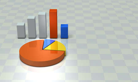 Bar graph and pie chart. Background image. 3D illustration