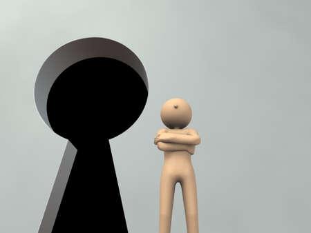Der Pförtner vor dem Schlüsselloch. 3D-Rendering