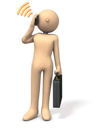 An Asian businessman is calling. 3D illustration