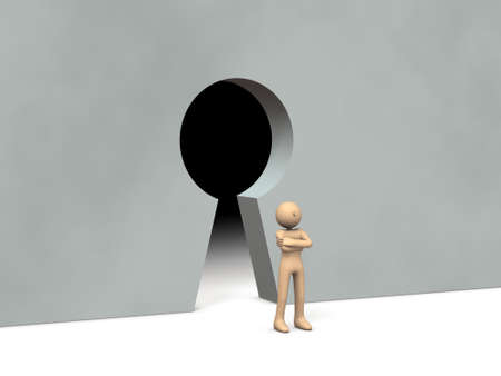 The gatekeeper in front of the keyhole. 3D rendering