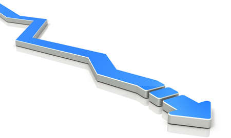 diversion: An arrow overturns the course many times. 3D illustration