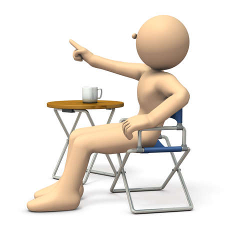 A character sitting on directors chair is  instructing. 3D illustration