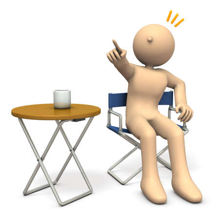director's chair: A character sitting on directors chair is  instructing. 3D illustration