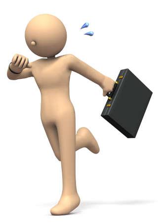 puntualidad: Un hombre de negocios que se ejecuta en cuenta la fecha límite. ilustración 3D