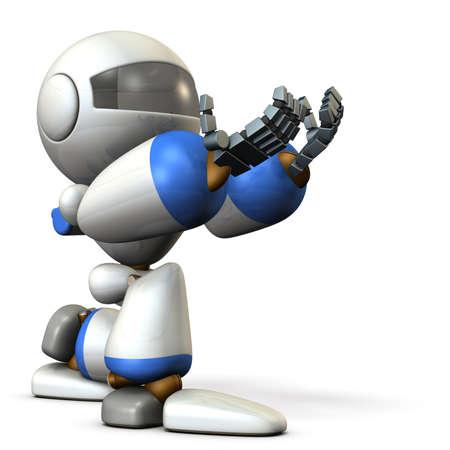 Cute robot kneeling is receiving something. 3D illustration