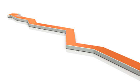An arrow overturns the course many times. 3D illustration