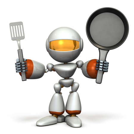 Cute robot to challenge cooking. 3D illustration