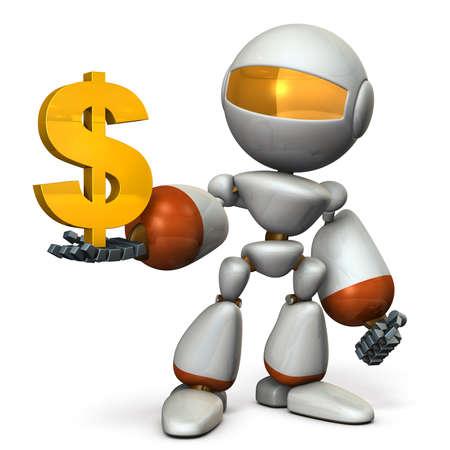 The cute robot wants a profit. 3D illustration