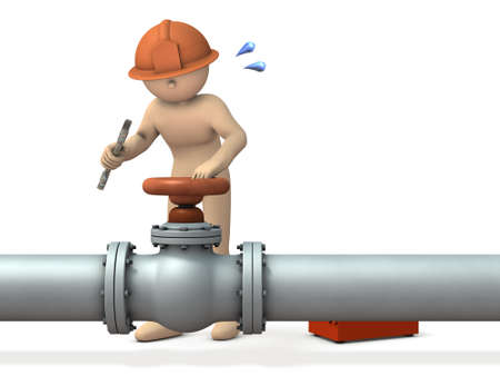 repairing: Engineer desperately repairing piping. 3D illustration