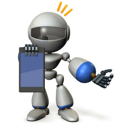 A cute robot presents information on the tablet PC. 3D illustration Stock Photo