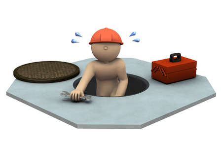 came: Engineer who came out from sewage manholes. 3D illustration Stock Photo
