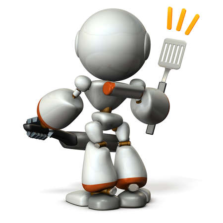 Cute robot with confidence in cooking skills. 3D illustration
