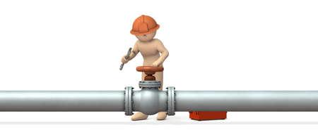 Engineer desperately repairing piping. 3D illustration