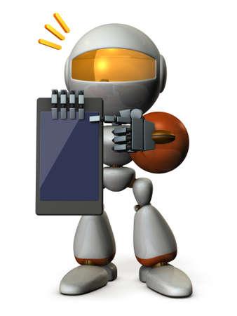 A cute robot explains it using a tablet PC. 3D illustration