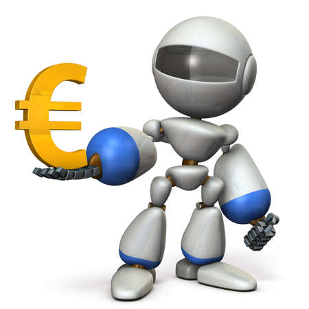 The cute robot wants a profit. 3D illustration