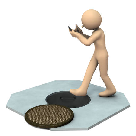 Careless character relying on social media. 3D illustration Stock Photo