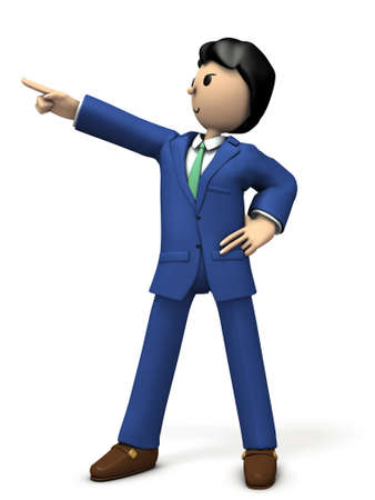The businessman points to the goal. 3D illustration Stock Photo