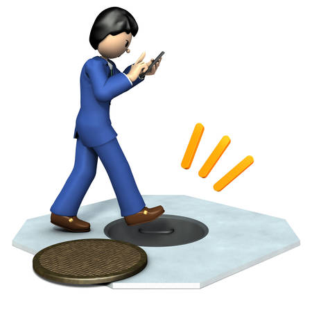 The businessman is crazy about smartphones and is unprotected. 3D illustration Stock Photo