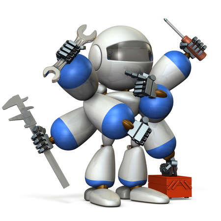 fullbody: Multifunctional machine robot with many arms. 3D illustration