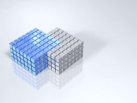 触れると同化の境界で 2 つのグループ。3 D イラストレーション
