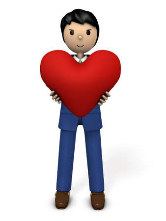 openness: A businessman with a big heart. 3D illustration