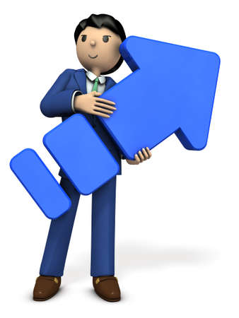 A young businessman holding a big arrow. 3D illustration