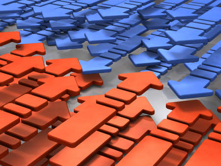 Abstract 3DCG illustration showing two conflicting groups. 3D illustration