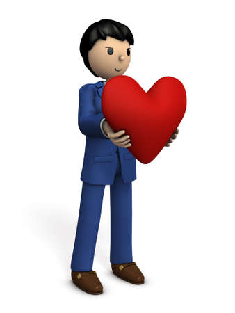 one of a kind: A businessman with a big heart. 3D illustration