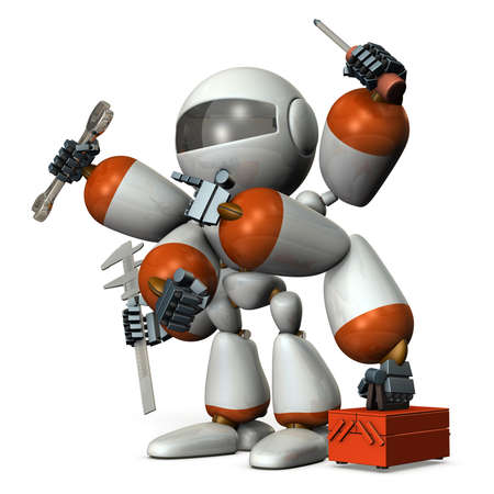 Multifunctional machine robot with many arms. 3D illustration