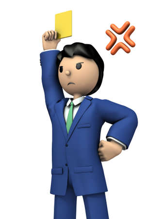 A young businessman warns by holding a yellow card. 3D illustration