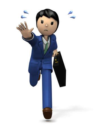 A businessman chasing something. 3D illustration