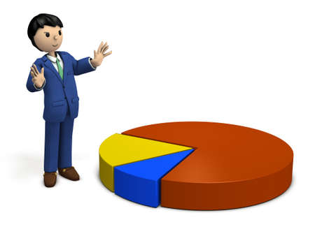 A businessman explaining the results of market research. 3D illustration Stock Photo